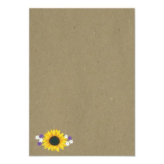 Rustic Sunflower Kraft Paper Wedding Invitations | Zazzle
