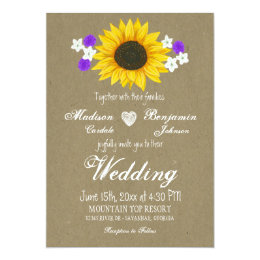 Rustic Sunflower Kraft Paper Wedding Invitations ...