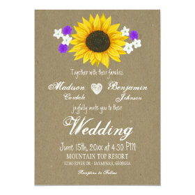 Rustic Sunflower Kraft Paper Wedding Invitations