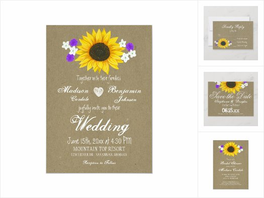 Rustic Sunflower Kraft Paper Wedding Invite Set