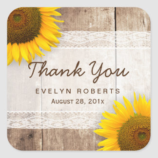 Rustic Sunflower Lace Barn Wood Thank You Square Sticker