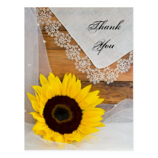 Rustic Sunflower Lace Country Wedding Thank You Postcard