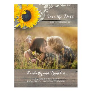 Rustic Sunflower Photo Save the Date Postcards