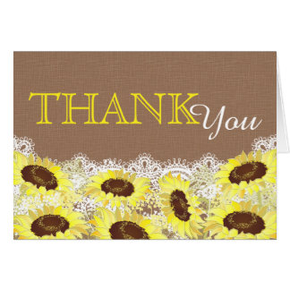 Rustic Sunflower Lace Thank You Card