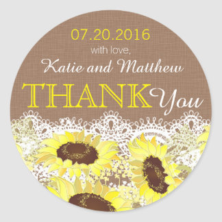 Rustic Sunflower Lace Thank You Label