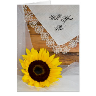 Rustic Sunflower Lace Will You Be My Bridesmaid Card
