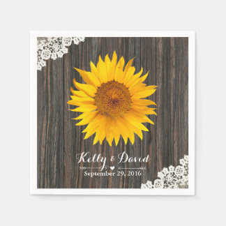 Rustic Sunflower Lace & Wood Wedding Paper Napkin