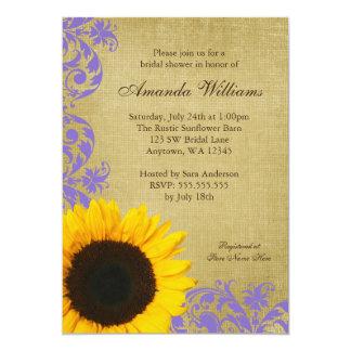 Rustic Sunflower Lavender Swirls Bridal Shower 5x7 Paper Invitation Card