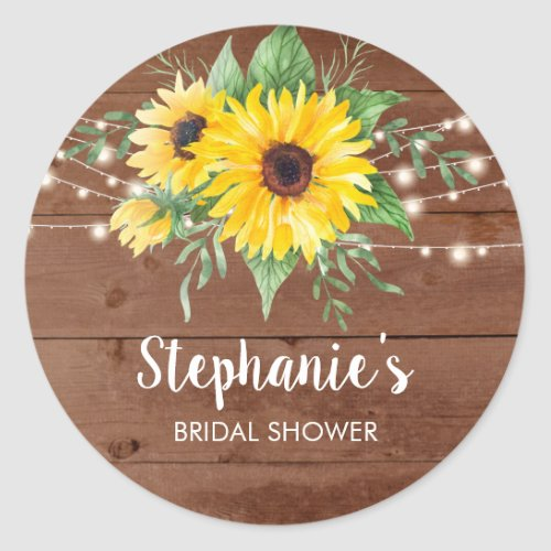 Rustic Sunflower Lights Wood Bridal Shower Classic Round Sticker