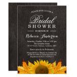 Rustic Sunflower Maple Leaves Wood | Bridal Shower Card