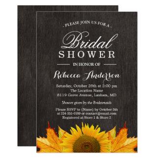 Rustic Sunflower Maple Leaves Wood   Bridal Shower Card