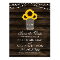 Rustic Sunflower Mason Jar Barn Wood Save the Date Postcard