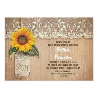 rustic sunflower mason jar bridal shower 5x7 paper invitation card