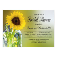 Rustic Sunflower Mason Jar Bridal Shower Wedding Card (<em>$1.96</em>)