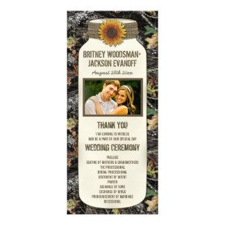 Rustic Sunflower Mason Jar Camo Wedding Programs