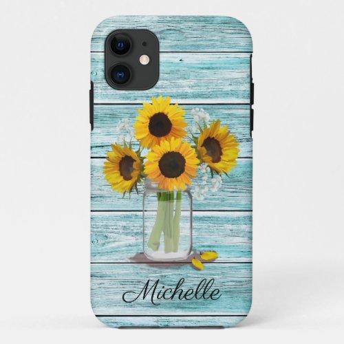 Rustic Sunflower Mason Jar Phone Case