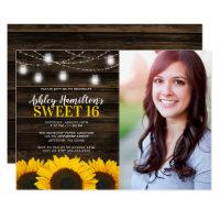 Rustic Sunflower Mason Jar Lights Sweet 16 Photo Invitation