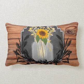 Rustic Sunflower Mason Jar Lumbar Pillow