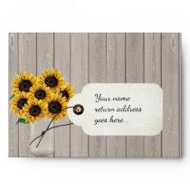 Rustic Sunflower Mason Jar RSVP Return Envelope