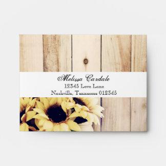 Rustic Sunflower Mason Jar RSVP Return Envelopes
