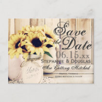 Rustic Sunflower Mason Jar Save the Date Postcards