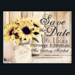 "Rustic Sunflower Mason Jar Save the Date Postcards<br><div class=""desc"">Rustic Country Sunflower Mason Jar Save the Date Postcards with a barn wood background. These are great for country weddings. The mason jar are painted and have a twine bow around them and a bouquet of sunflowers inside sitting on a lace doily. The back of the postcard has a return...</div>"