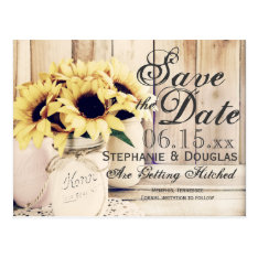 Rustic Sunflower Mason Jar Save The Date Postcards at Zazzle