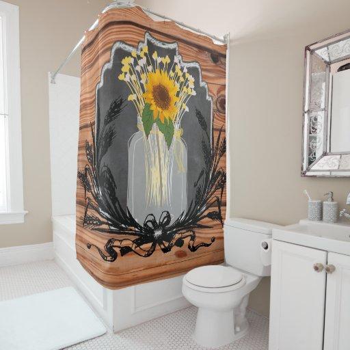 Rustic Sunflower Mason Jar Shower Curtain