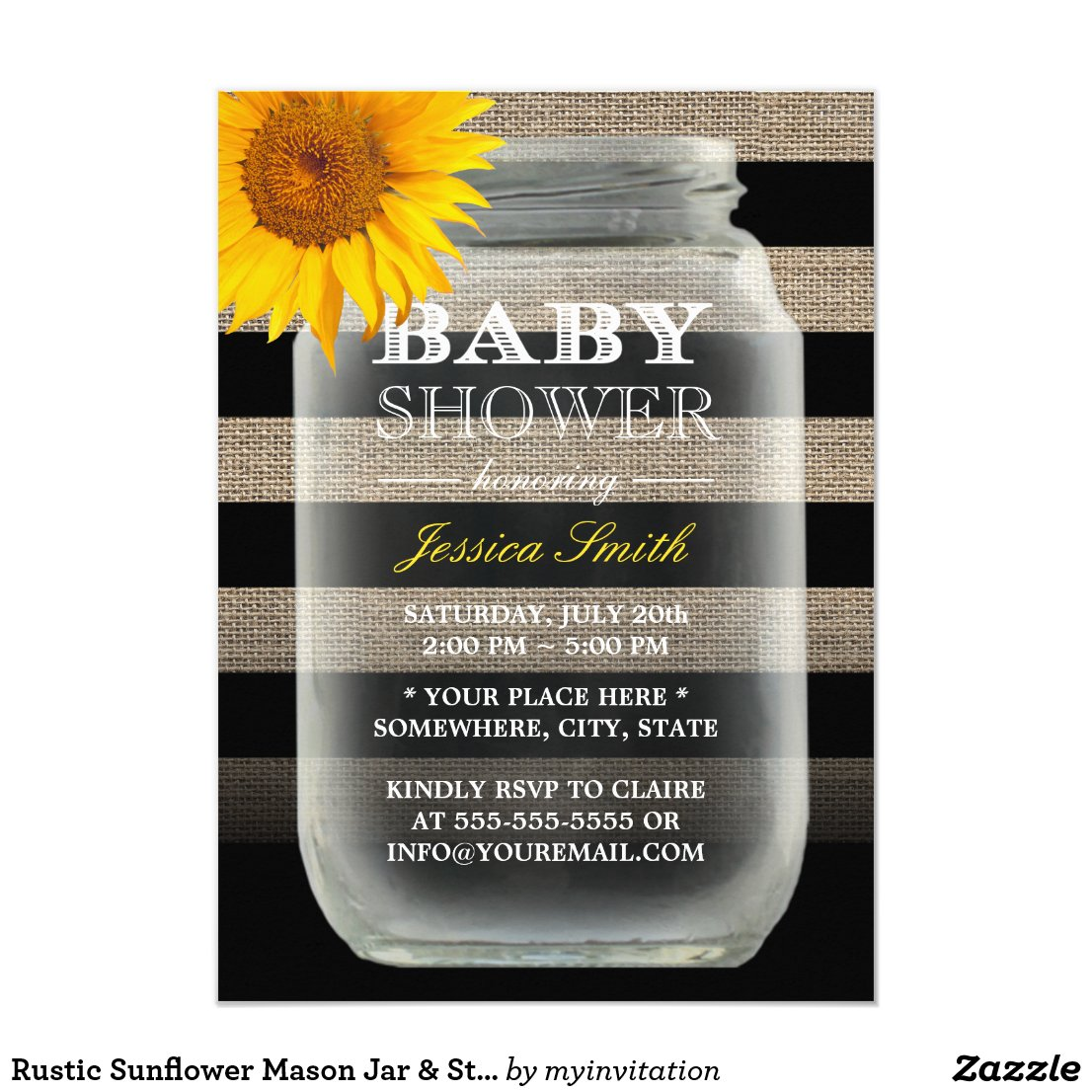 Rustic Sunflower Mason Jar & Stripes Baby Shower