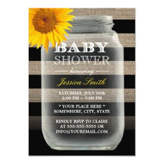 Sunflower baby shower time for the holidays sunflower baby shower invitations rustic sunflower mason jar amp stripes baby filmwisefo