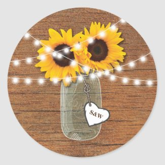 Country Sunflower Wedding Stickers