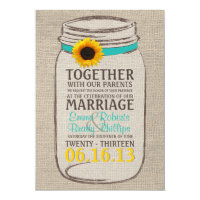 Rustic Sunflower &amp; Mason Jar Wedding Invitation (<em>$2.11</em>)