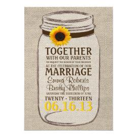 Rustic Sunflower & Mason Jar Wedding Invitation 5