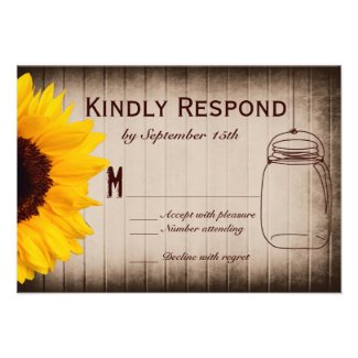 Rustic Sunflower Mason Jar Wedding RSVP Cards