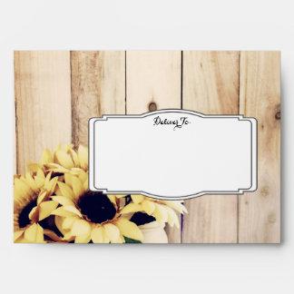 Rustic Sunflower Mason Jar Wood Wedding Envelopes