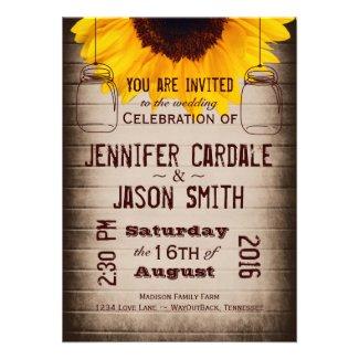 Rustic Sunflower Mason Jars Wedding Invitations Personalized Invitation