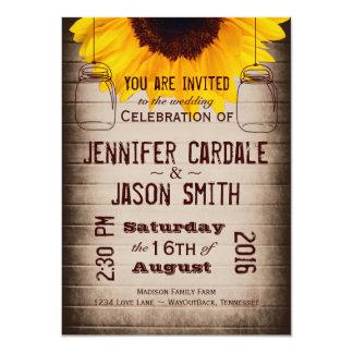 "Rustic Sunflower Mason Jars Wedding Invitations 4.5"" X 6.25"" Invitation Card"