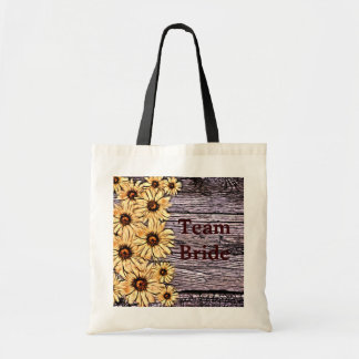 Rustic Sunflower on Barnboard Tote Bag