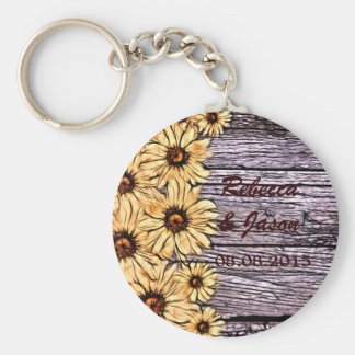 Rustic Sunflower on Barnboard Keychain