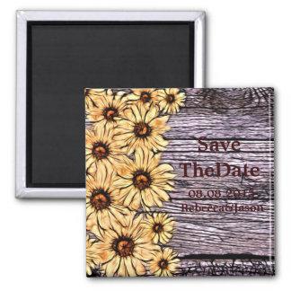 Rustic Sunflower on Barnboard Magnet