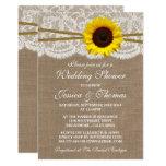 Rustic Sunflower On Burlap & Lace Wedding Shower Card