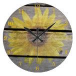 Rustic Sunflower On Wood Clock