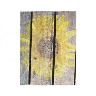 Rustic Sunflower On Wood Fleece Blanket
