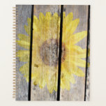"Rustic Sunflower On Wood Planner<br><div class=""desc"">A sunflower fades into distressed wooden planks.</div>"