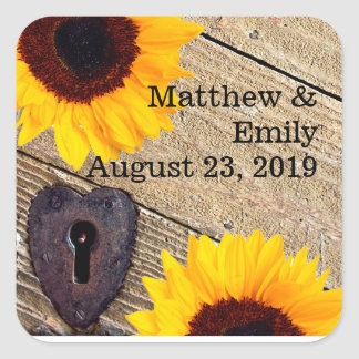 Rustic Sunflower Personalized Wedding Stickers