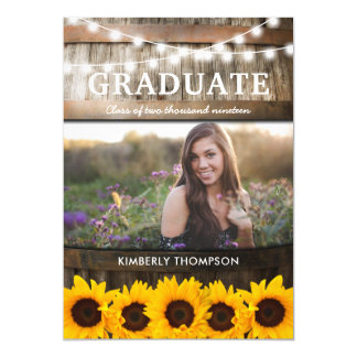 Rustic Sunflower Photo 2018 Graduation Party Card