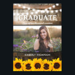 "Rustic Sunflower Photo 2018 Graduation Party Invitation<br><div class=""desc"">Rustic graduation party invitations featuring a country barn oak barrel background, a photo of the graduate, twinkle string lights, summer sunflowers, the class year and modern white wording. Find other graduation party invitations at http://www.zazzle.com/special_stationery Click on the ""Customize it"" button for further personalization of this template. You will be able...</div>"