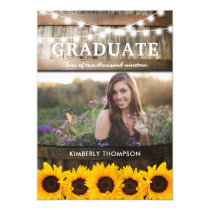 Rustic Sunflower Photo 2019 Graduation Party Invitation
