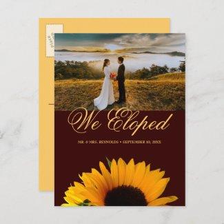 Rustic Sunflower Photo Autumn Elopement Wedding Announcement Postcard