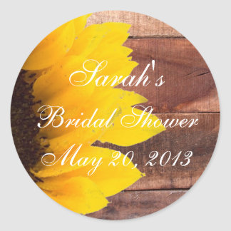 Rustic Sunflower Photo Bridal Shower Classic Round Sticker